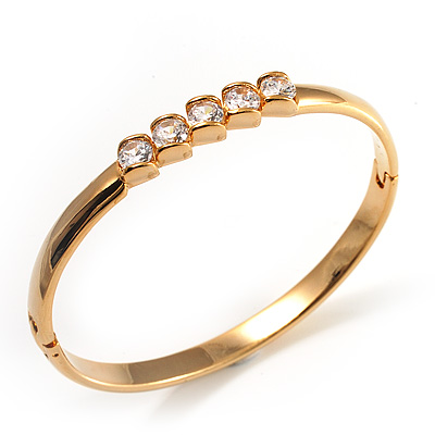 Thin Gold Tone CZ  Bangle Bracelet