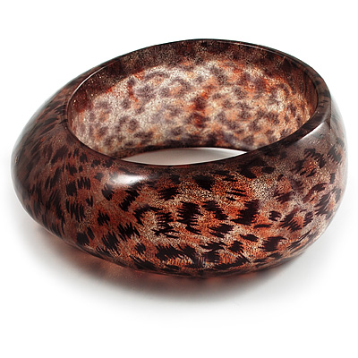 Animal Print Chunky Glittering Resin Bangle(Tiger Print)