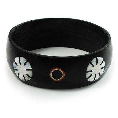 Floral Shell Bangle Bracelet (Black Tone)