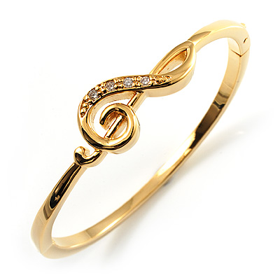 Gold Tone Crystal Treble Clef Bangle Bracelet