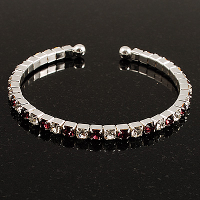 Clear&Purple Crystal Thin Flex Bangle Bracelet (Silver Tone)