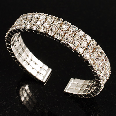 Cubic Zirconia Flex Bangle Bracelet (Silver Tone)