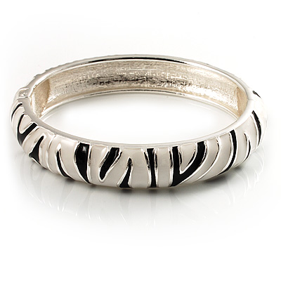 Zebra Print Enamel Thin Hinged Bangle Bracelet (Black&White) - up to 17cm Length - main view