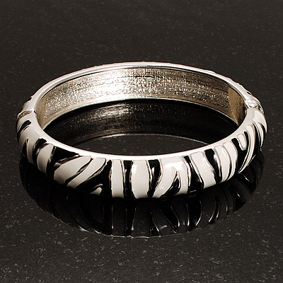 Zebra Print Enamel Thin Hinged Bangle Bracelet (Black&White) - up to 17cm Length