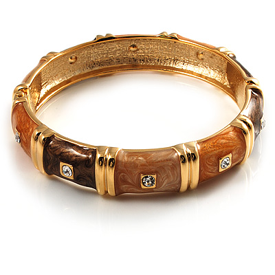 Chic Brown CZ Segmental Hinged Bangle Bracelet (Gold Tone)