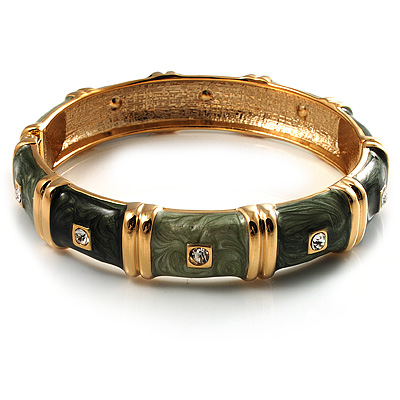 Chic Olive Green CZ Segmental Hinged Bangle Bracelet (Gold Tone)