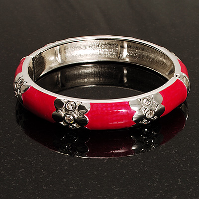 Bright Pink Thin Enamel Crystal Bangle (Silver Tone)