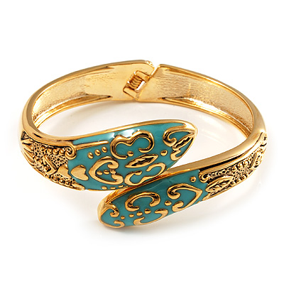Gold Tone Snake Hinged Bangle Bracelet (Aqua)