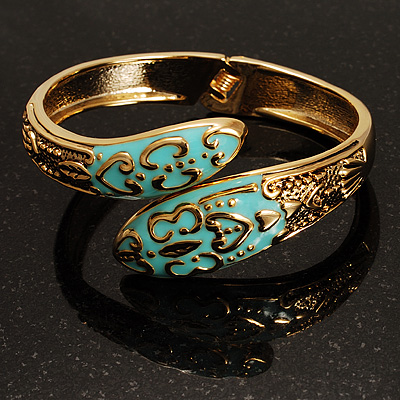 Gold Tone Snake Hinged Bangle Bracelet (Aqua) - main view