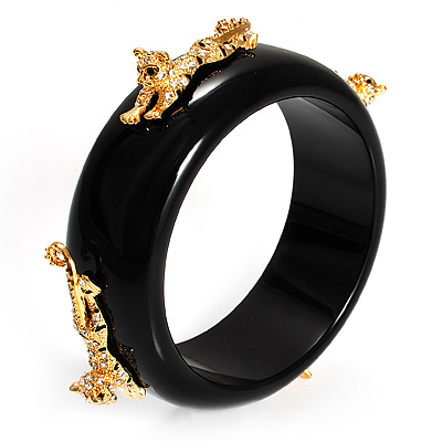 Black Resin Crystal Leopard Bangle (Gold Tone) - Catwalk 2013