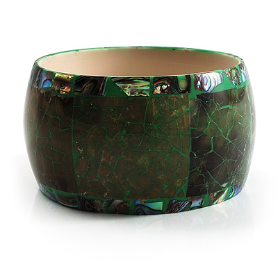 Chunky Wide Shell Bangle (Olive &amp; Dark Green)