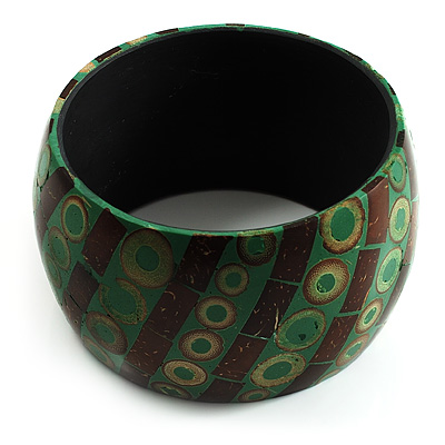 Wide Patterned Shell Bangle (Green &amp; Brown)