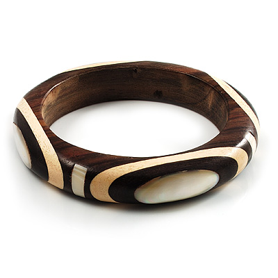 Geometrical Shell Pattern Wood Bangle (Brown &amp; Beige)