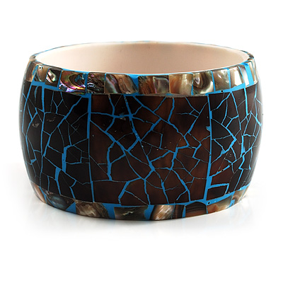 Chunky Wide Shell Bangle (Brown & Sky Blue)