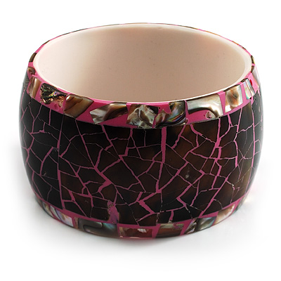 Chunky Wide Shell Bangle (Brown Grey &amp; Bright Pink)