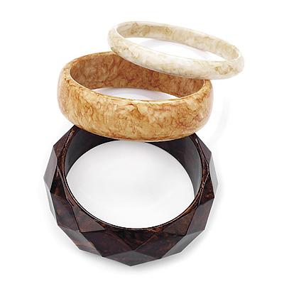 Brown, Honey And Antique White Acrylic Bangles - Set Of 3 Pcs - main view