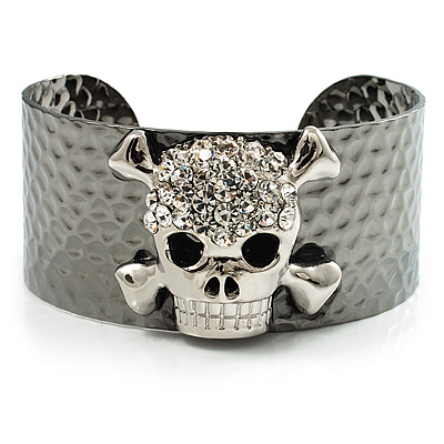 Swarovski Crystal Skull Cuff Bangle (Silver Tone Metal) - main view