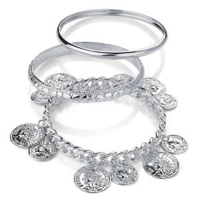 Patterned Greek Style Coin Metal Bangles - Set of 3 Pcs (Silver Tone)