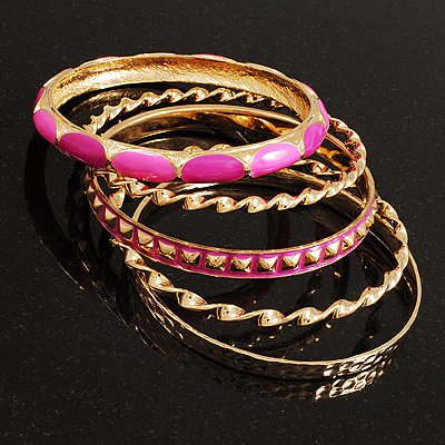 Set Of 5 Pcs Metal Gold Bangles (Pink Enamel) - main view