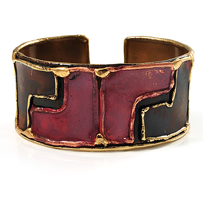 Geometrical &#039;Zig Zag&#039; Pattern Ethnic Cuff Bangle