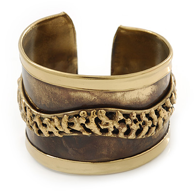 Wide Two-Tone 'Wavy Line' Ethnic Cuff Bangle - Adjustable