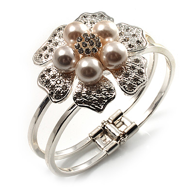 Bridal Imitation Pearl Floral Hinged Bangle Bracelet (Silver Tone) - main view