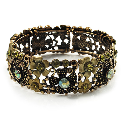 Victorian Olive Green Crystal Floral Flex Cuff Bangle (Bronze Tone) - main view