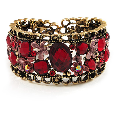 Bronze Tone Red Crystal Floral Cuff Bangle - main view