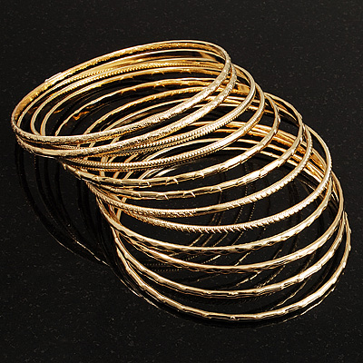 Gold Plated Thin Smooth & Textured Bangle Set - 12 Pcs - main view