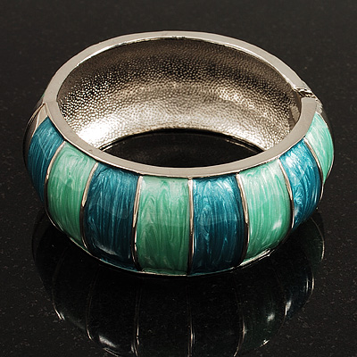 Segmental Wide Enamel Hinged Bangle (Teal & Light Green)