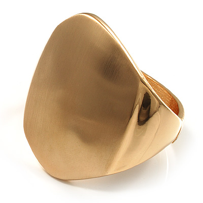 Chunky Asymmetrical Gold Tone Hinged Fashion Bangle
