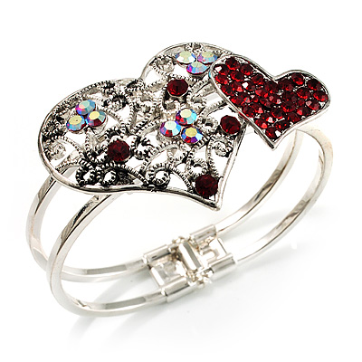 Ruby Red Diamante Heart Hinged Bangle Bracelet (Silver Tone)