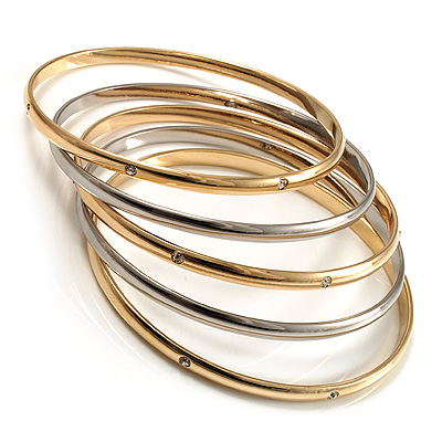Gold &amp; Silver Tone Diamante Metal Bangles- Set of 5 Pcs
