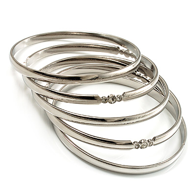 Silver Plated Smooth &amp; Crystal Metal Bangles - Set of 5 Pcs
