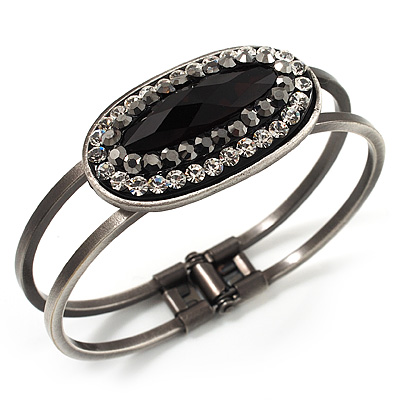 Vintage Black Oval Diamante Hinged Bangle Bracelet (Antique Silver Tone)