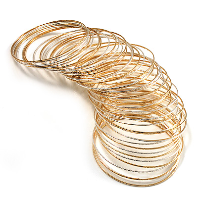 Gold &amp; Silver Tone Slim Textured Metal Bangles - Set of 50Pcs