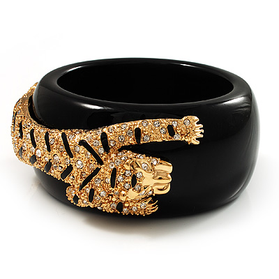 Black Resin Crystal 'Tiger' Bangle (Gold Tone) - Catwalk 2012