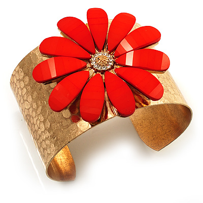 Wide Floral Hammered Gold Tone Cuff Bangle (Coral) - main view