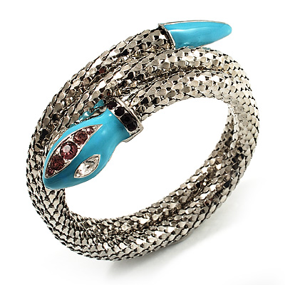 Silver Plated Diamante Snake Flex Bangle Bracelet - main view