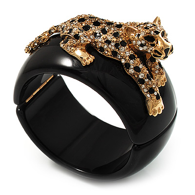 Black Resin Crystal 'Tiger' Hinged Bangle (Gold Tone) - Catwalk 2012