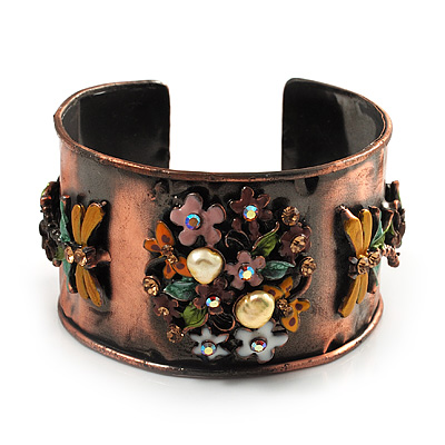 Copper Butterfly & Flowers Enamel Cuff Bangle (Multicoloured)