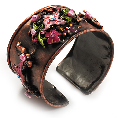 Copper Crystal Floral Enamel Cuff Bangle (Pink)