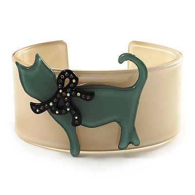 Kitty With Crystal Bow Cream Plastic Cuff Bangle
