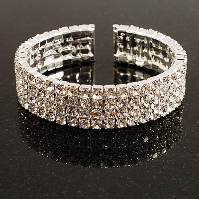 4-Row Cubic Zirconia Flex Bangle Bracelet (Silver Tone)