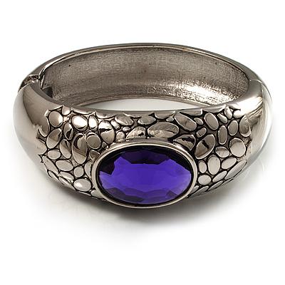 Rhodium Plated Purple Oval Glass Hinged Bangle - 18cm Length