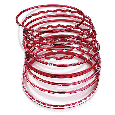 Red Smooth &amp; Textured Glitter Metal Bangles - Set of 10Pcs