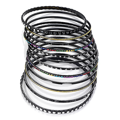 Black Multicoloured Smooth &amp; Textured Glitter Metal Bangles - Set of 10Pcs