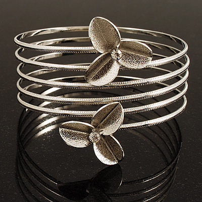 Rhodium Plated Crystal Flower Upper Arm Bracelet