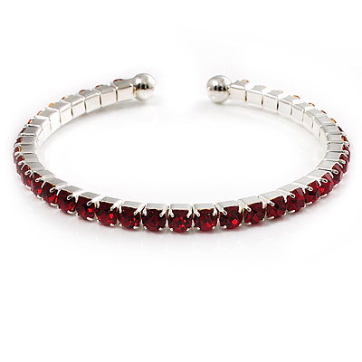Burgundy Red Crystal Thin Flex Bangle Bracelet (Silver Tone)