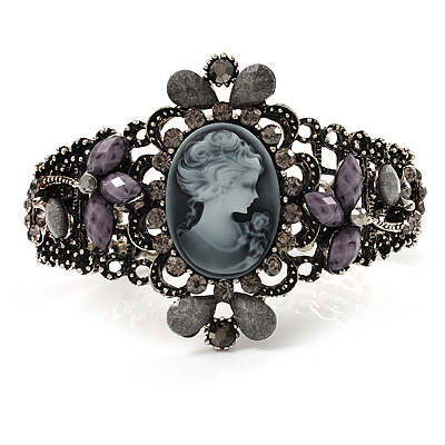 Victorian Style Cameo Diamante Bangle Bracelet (Burn Silver)